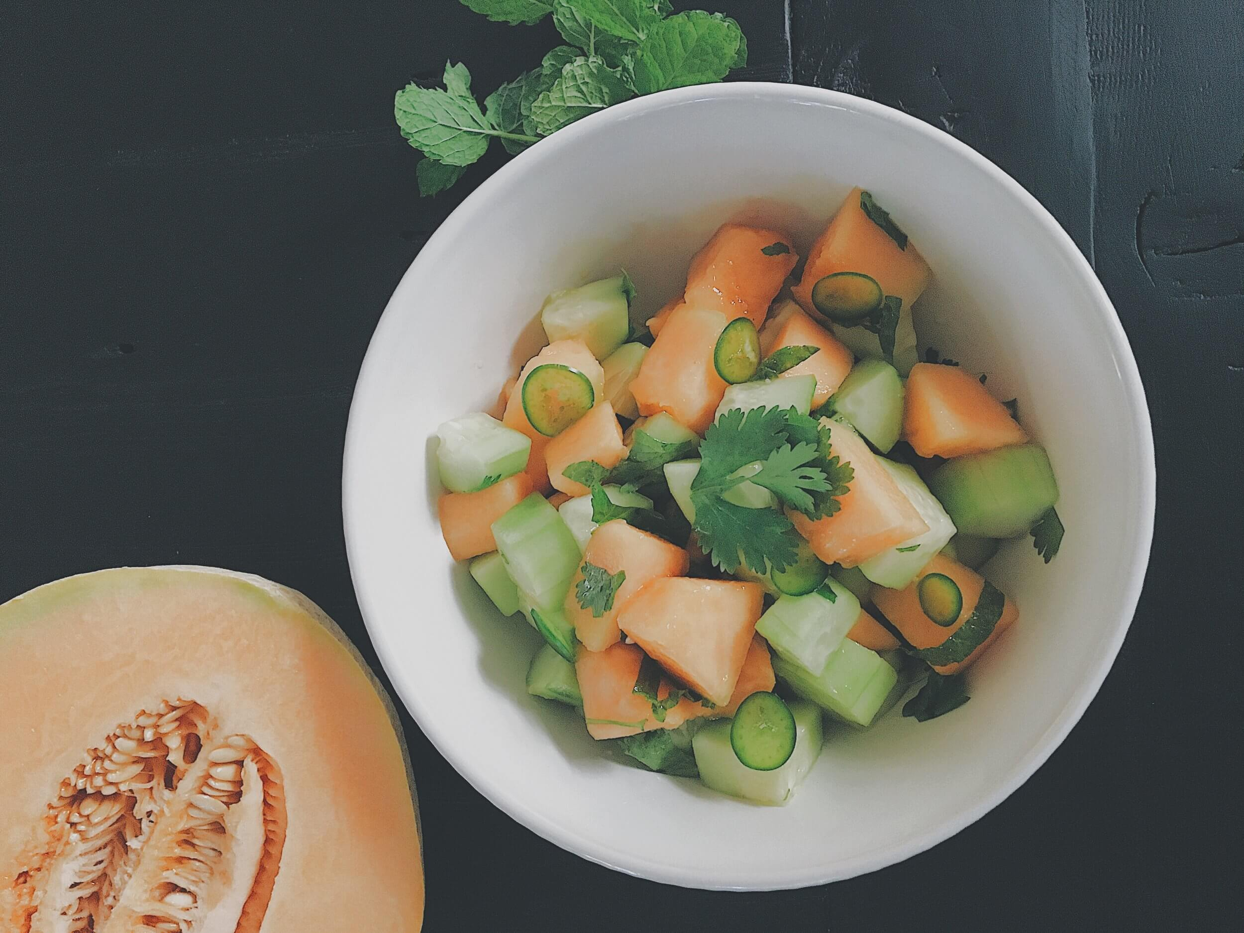 Cucumber + Melon Salad with Cilantro and Mint by Chartered Wellness