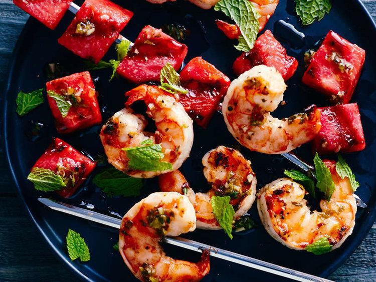 Grilled-Watermelon-Shrimp-Skewers